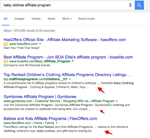 How to search for affiliate programs on Google