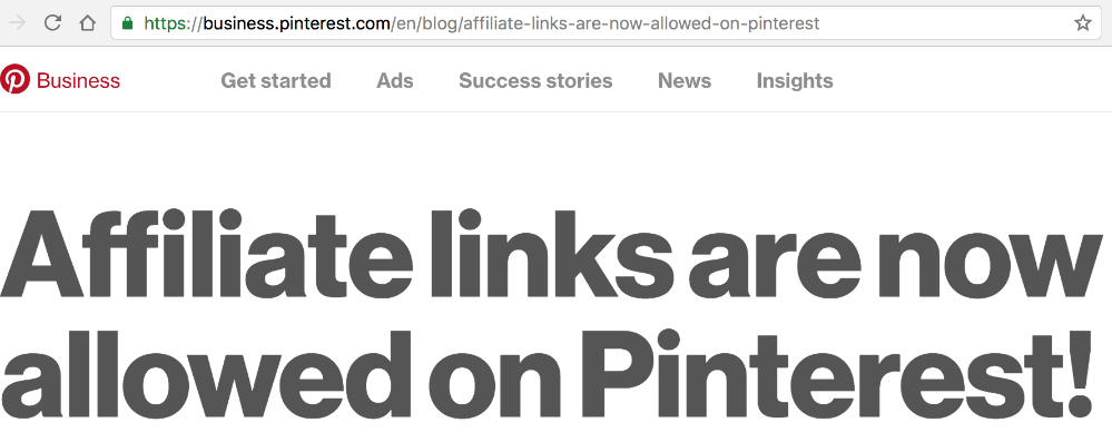 affiliate links on pinterest