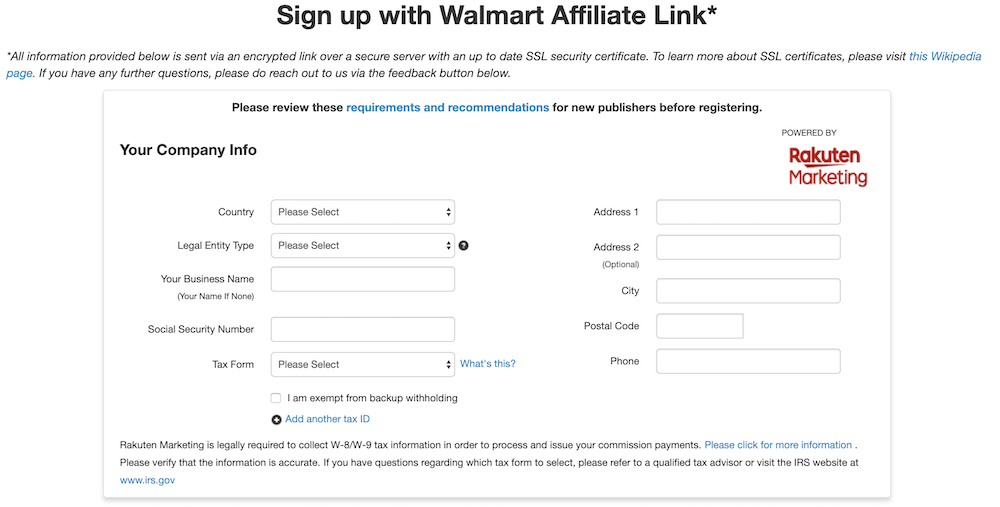 sign up with the walmart affiliate program
