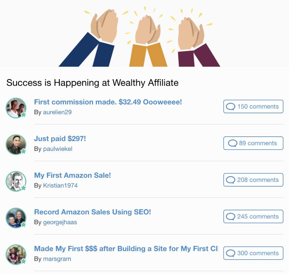 Wealthy Affiliate success posts amazon