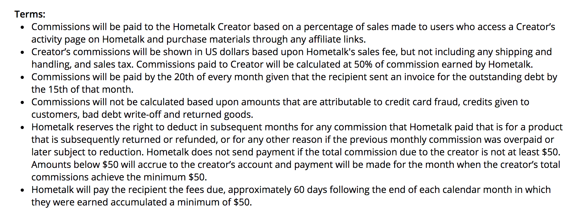 Hometalk affiliate program terms