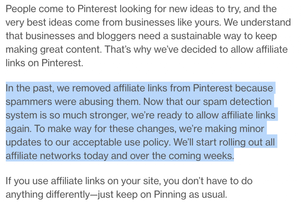 pinterest official affiliate link policy