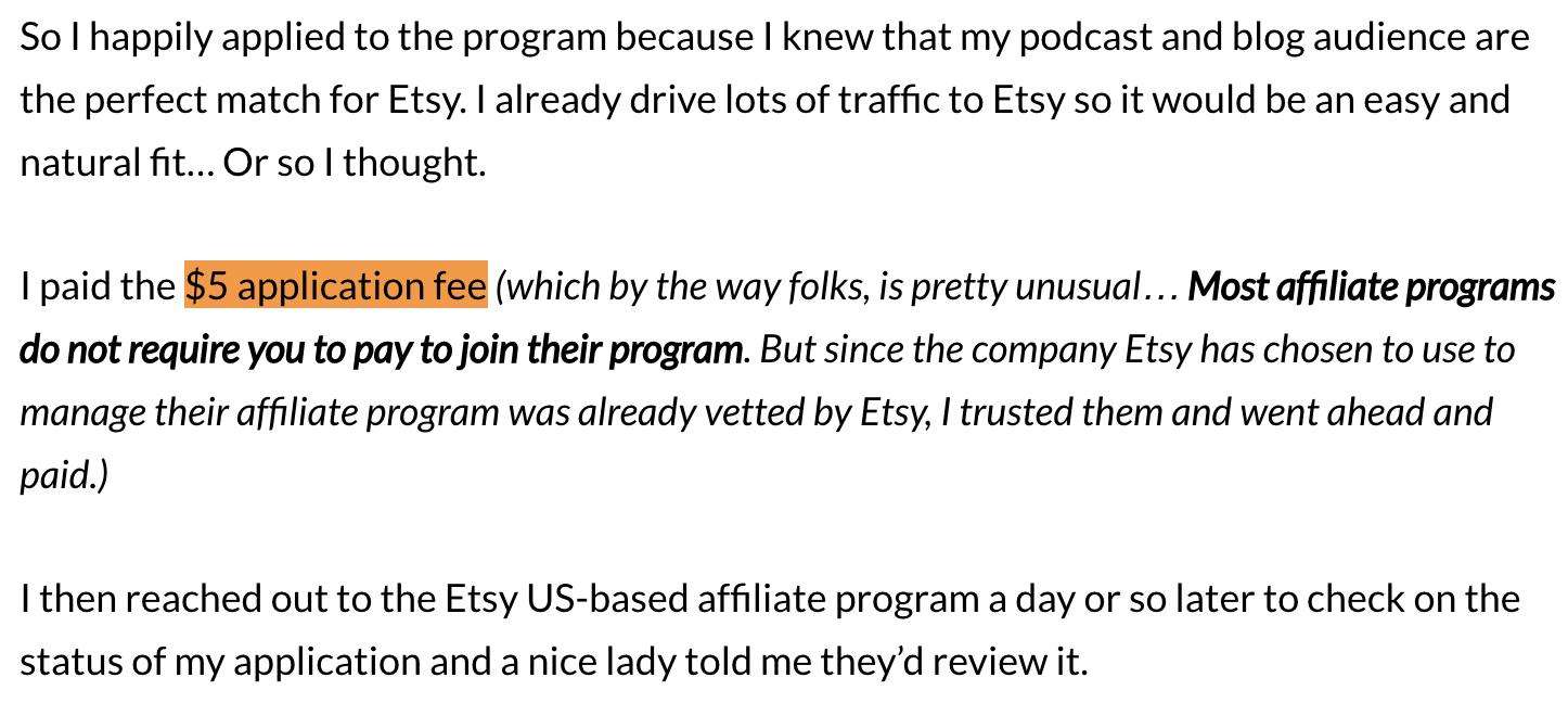 $5 application fee - etsy affiliate program