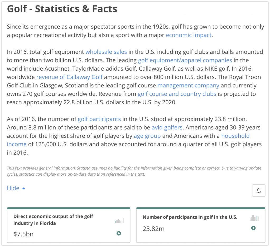 Golf - Statistics & Facts