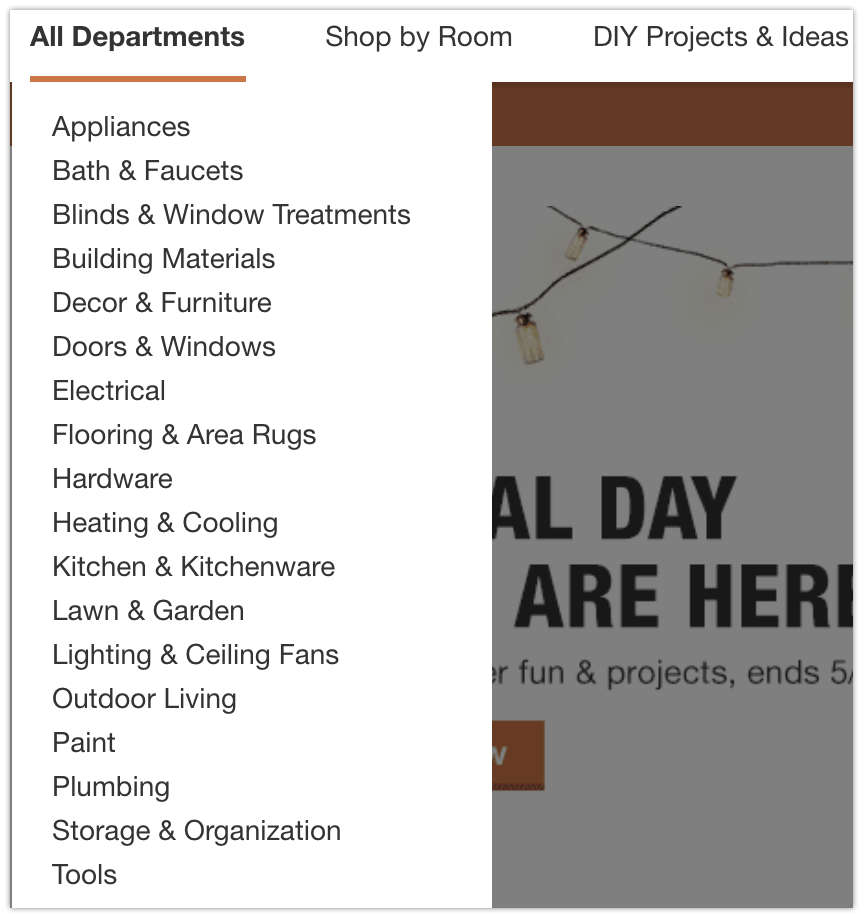 HomeDepot departments you can promote as an affiliate