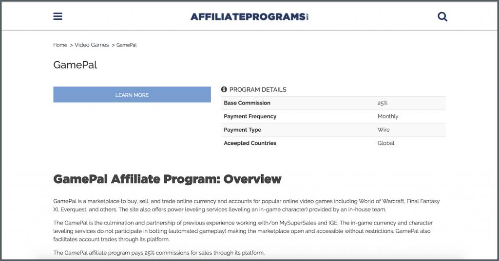 gamepal affiliate programs