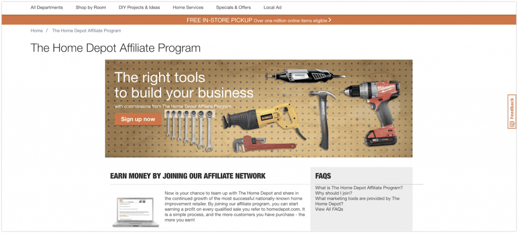 home depot affiliate program review