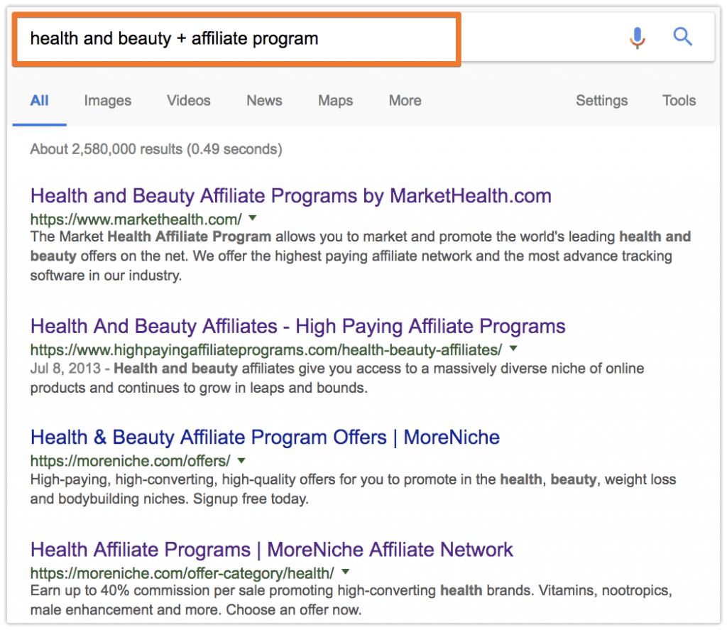 how to find an affiliate program on Google