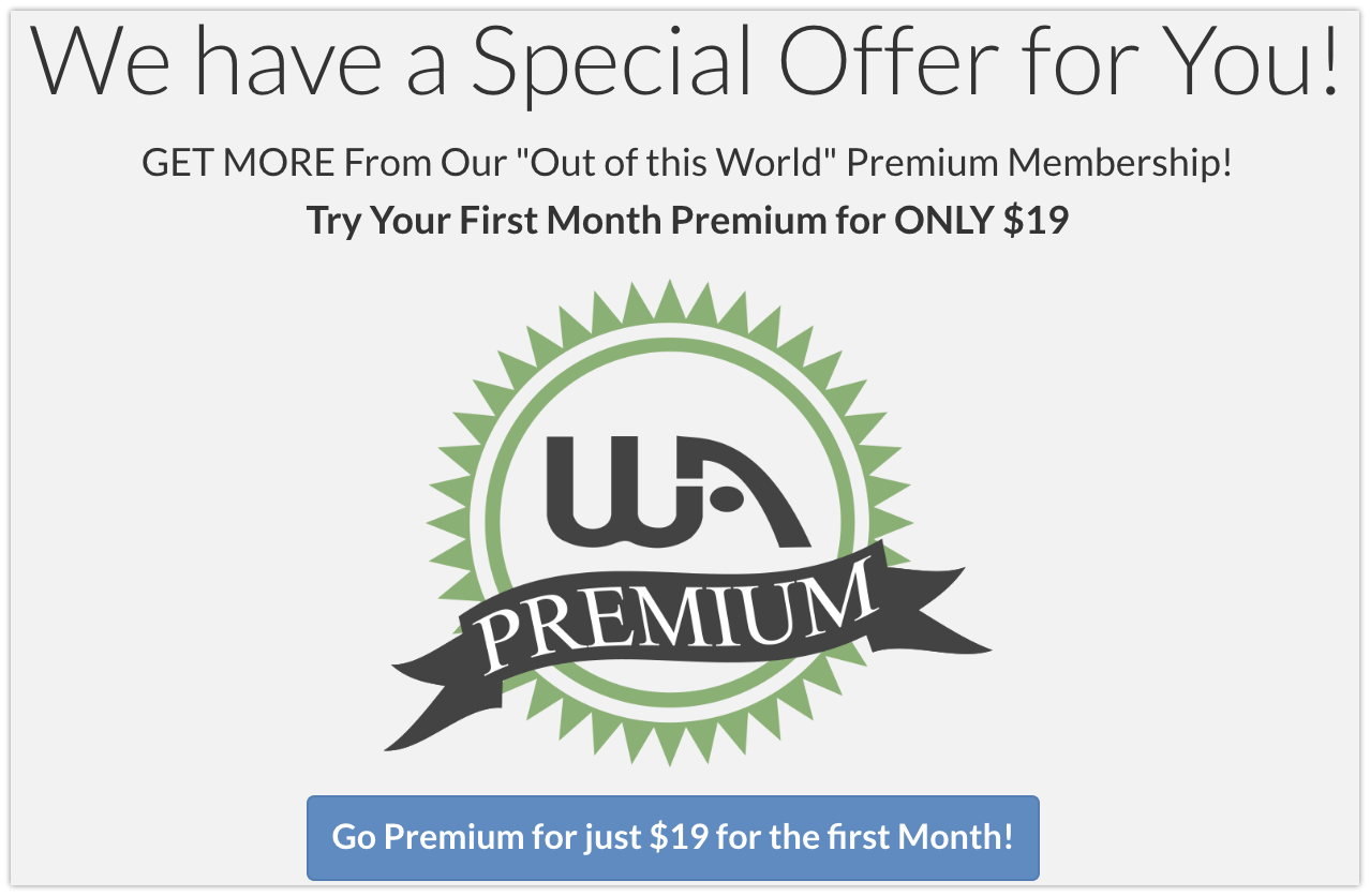 Wealthy Affiliate's first month special offer