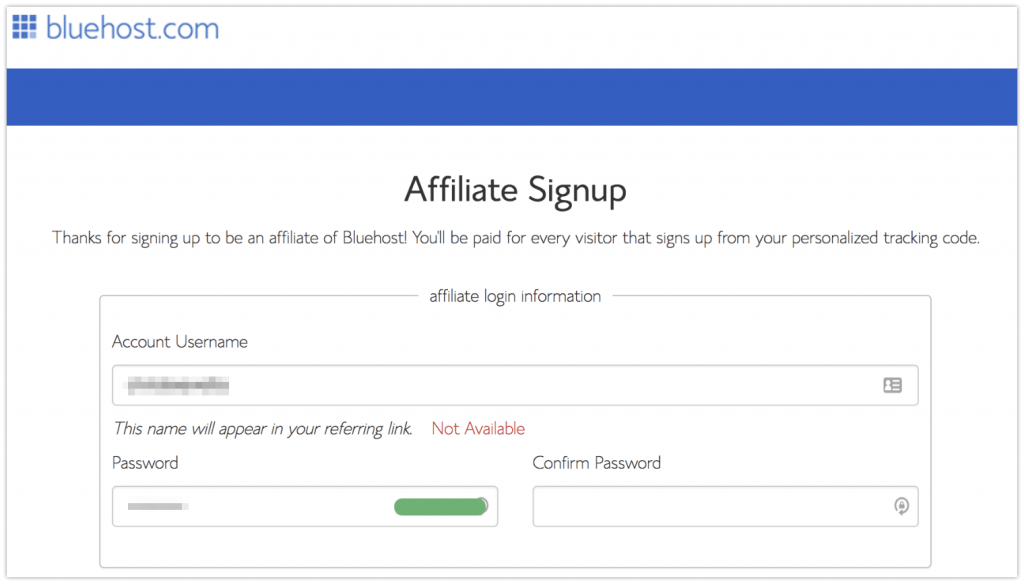 bluehost affiliate program sign up page