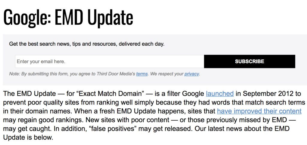 Exact Match Domain Update