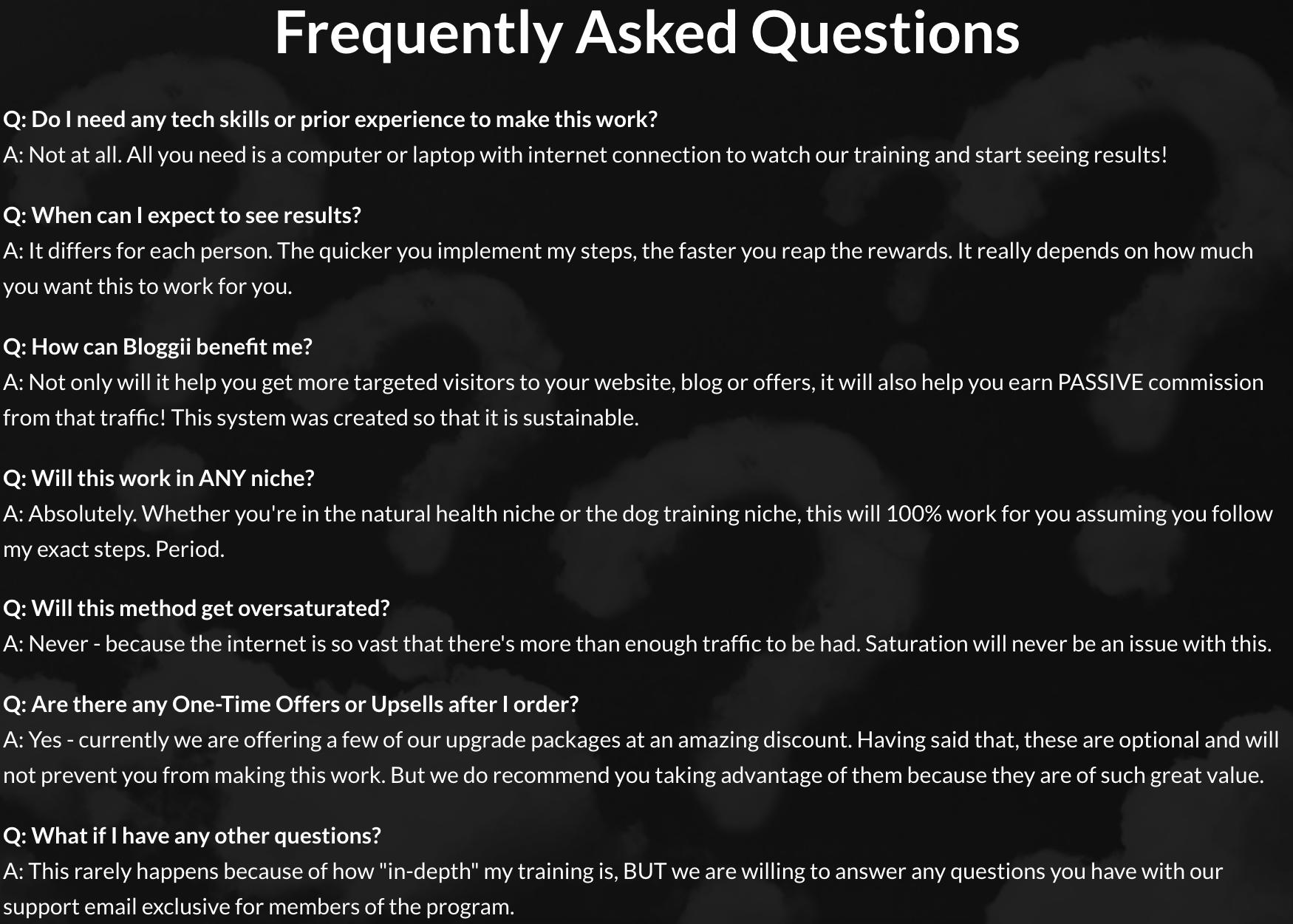 bloggii FAQs