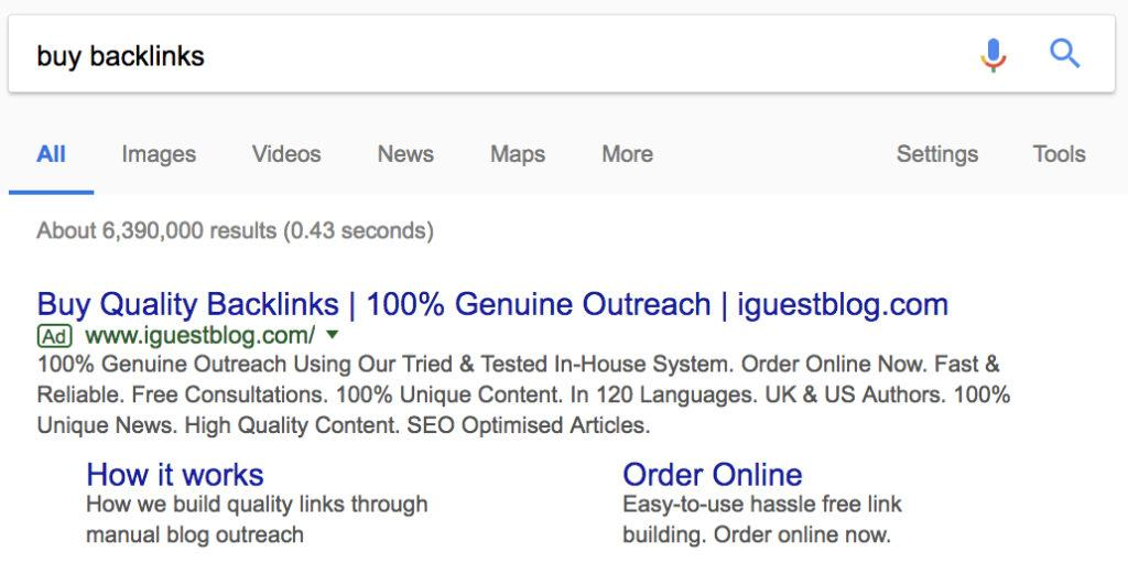 google ads showing as for backlinks