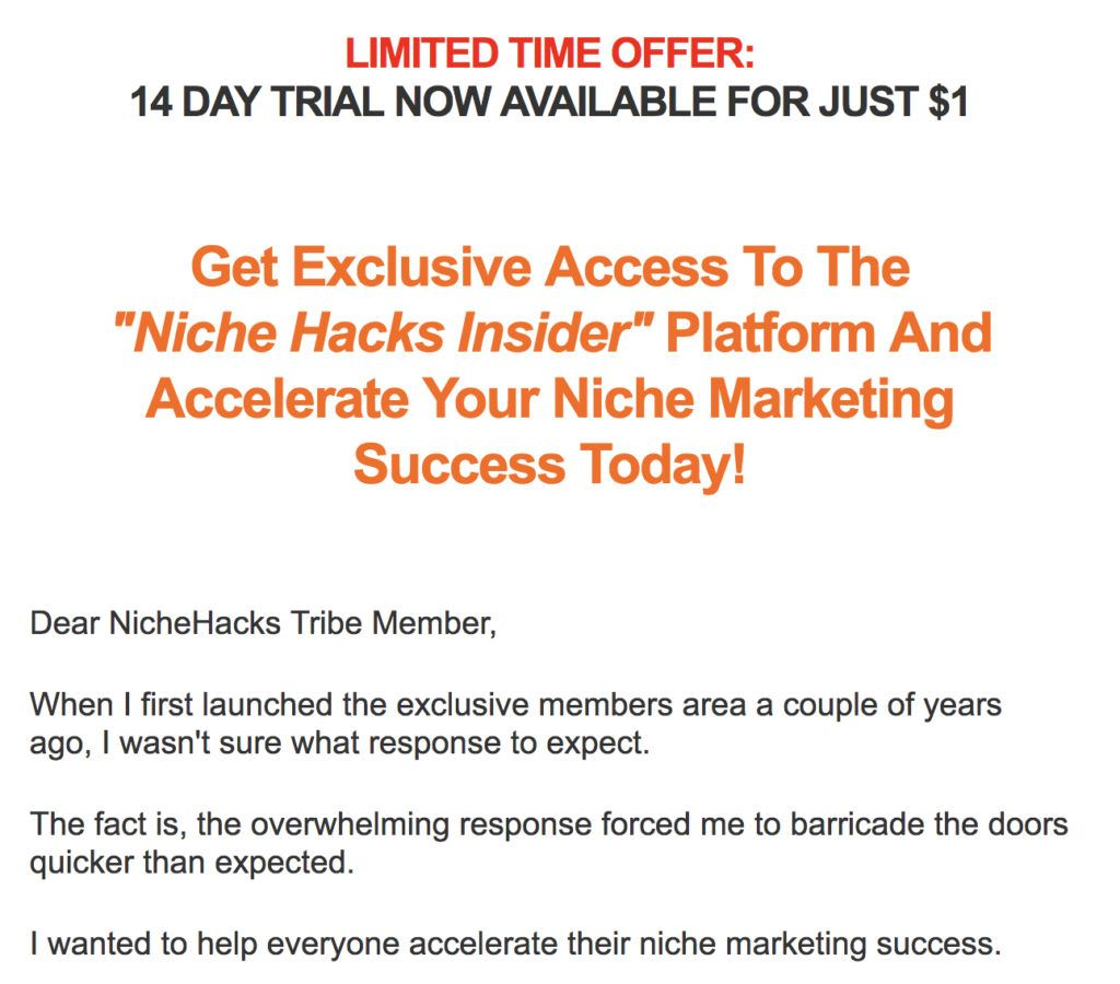 limited offer niche hacks membership training