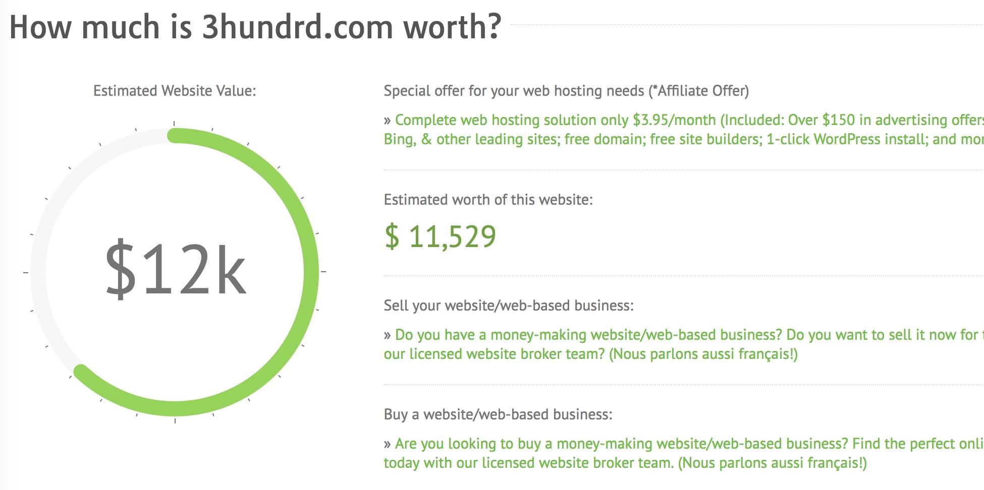 3hundrd.com is worth $11,529