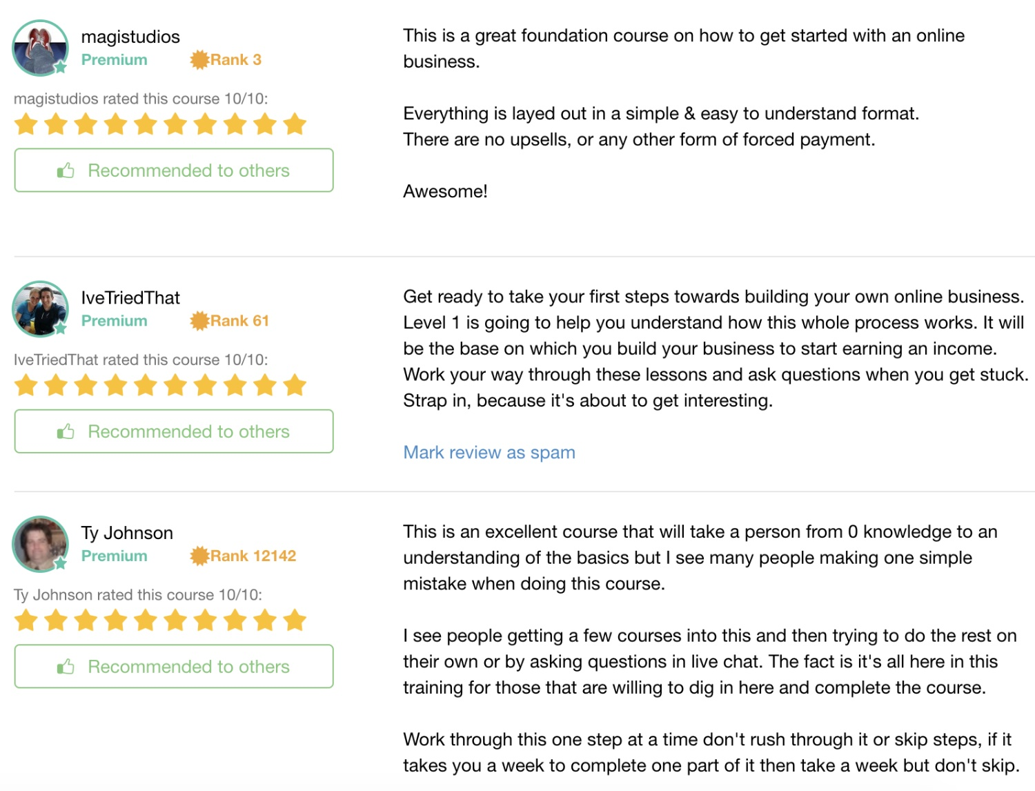 member reviews of the OEC course