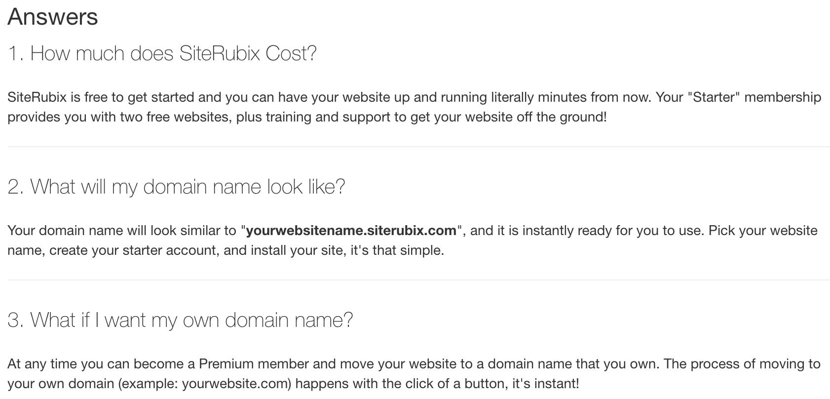 siterubix FAQs
