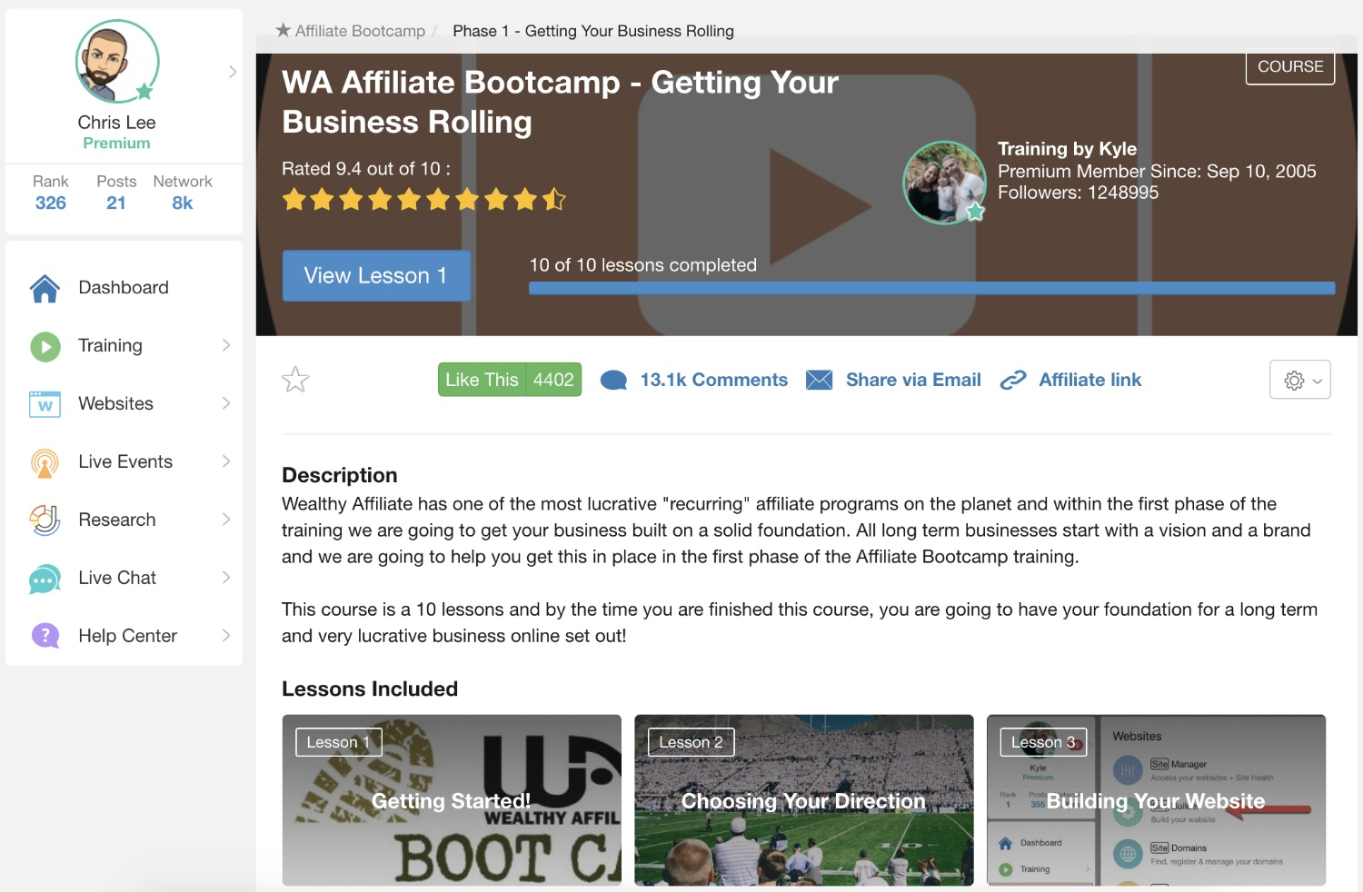 wealthy affiliate affiliate bootcamp course