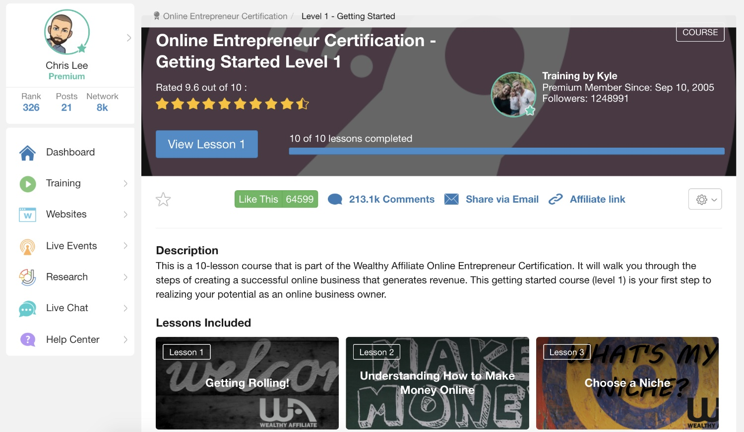The online entrepreneur certification course inside Wealthy Affiliate