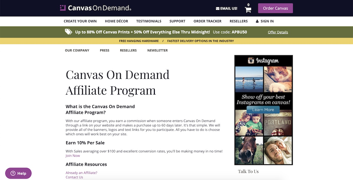 canvas on demand affiliate program