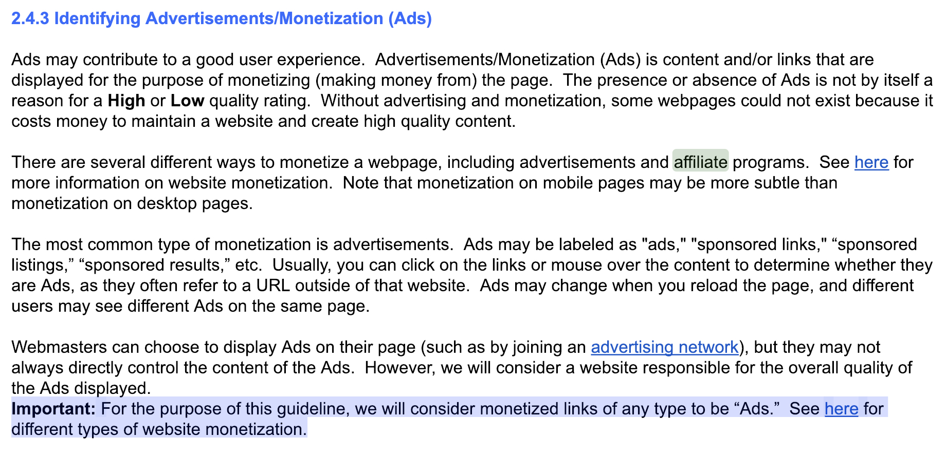 google search guidelines on affiliate marketing