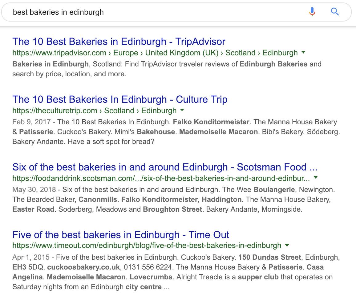 example of what local organic search results will look like