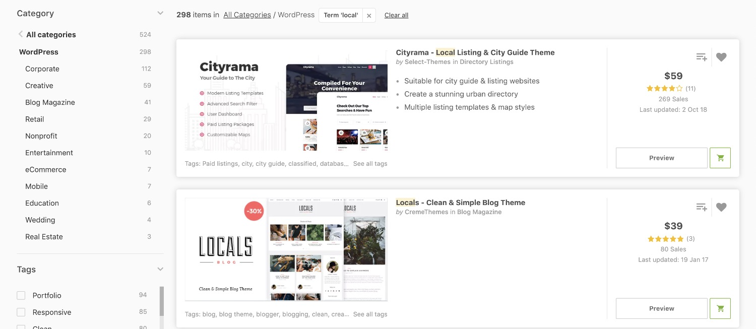 premium local wordpress themes