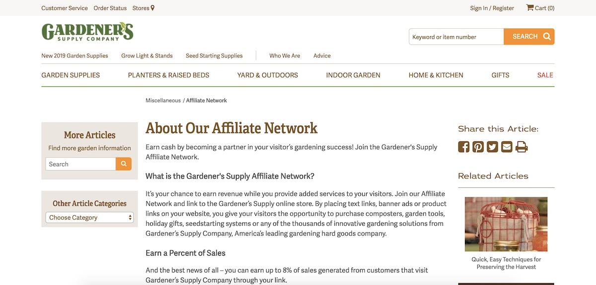 gardeners affiliate program