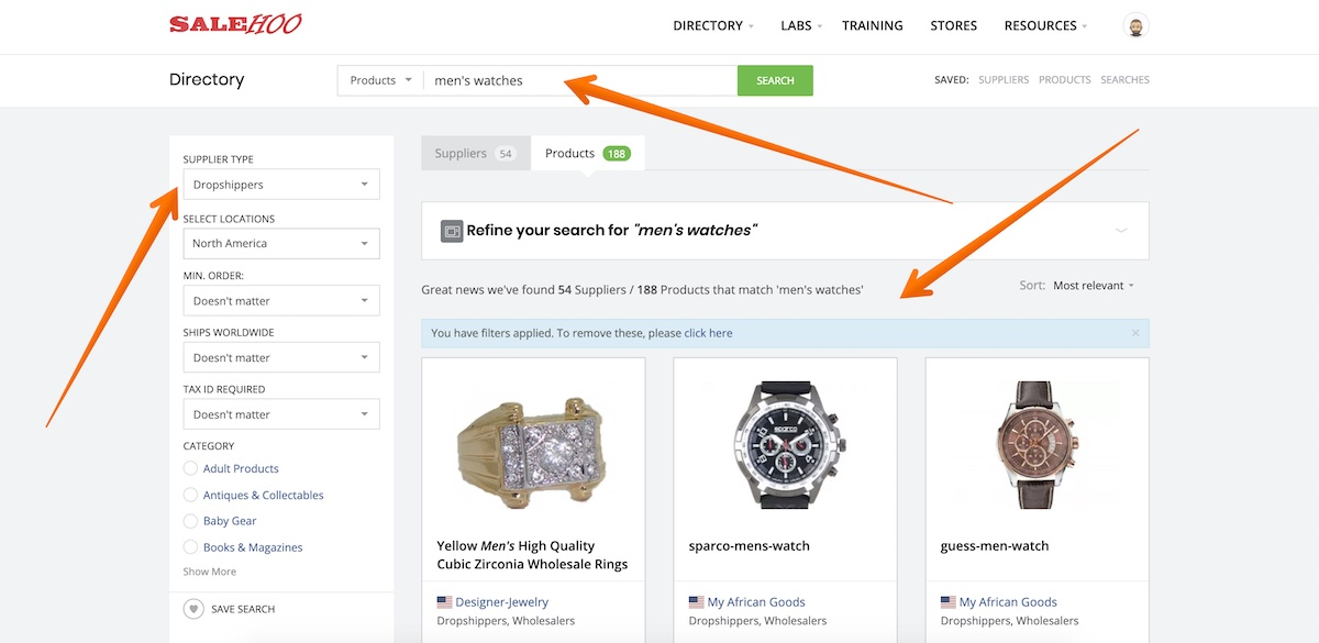 how to find products on salehoo