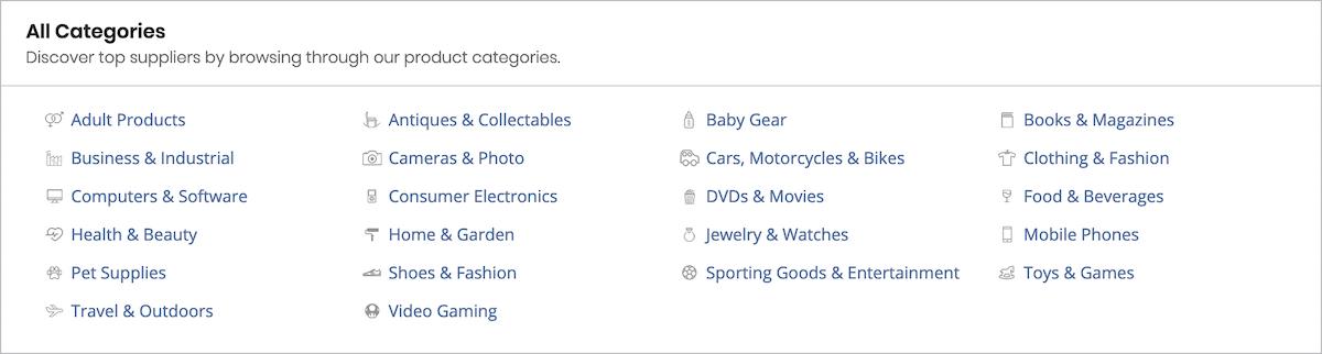 salehoo categories