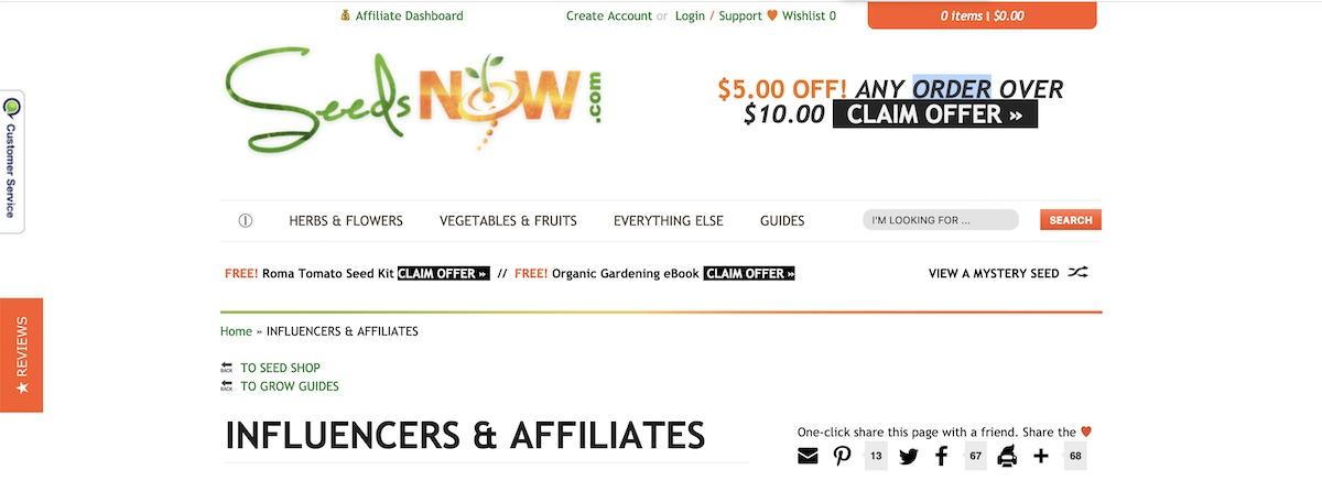 seedsnow affiliate program