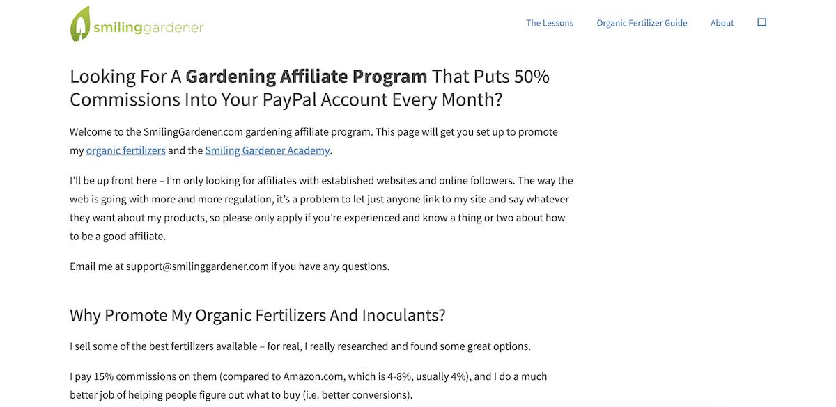 smiling gardener affiliate program
