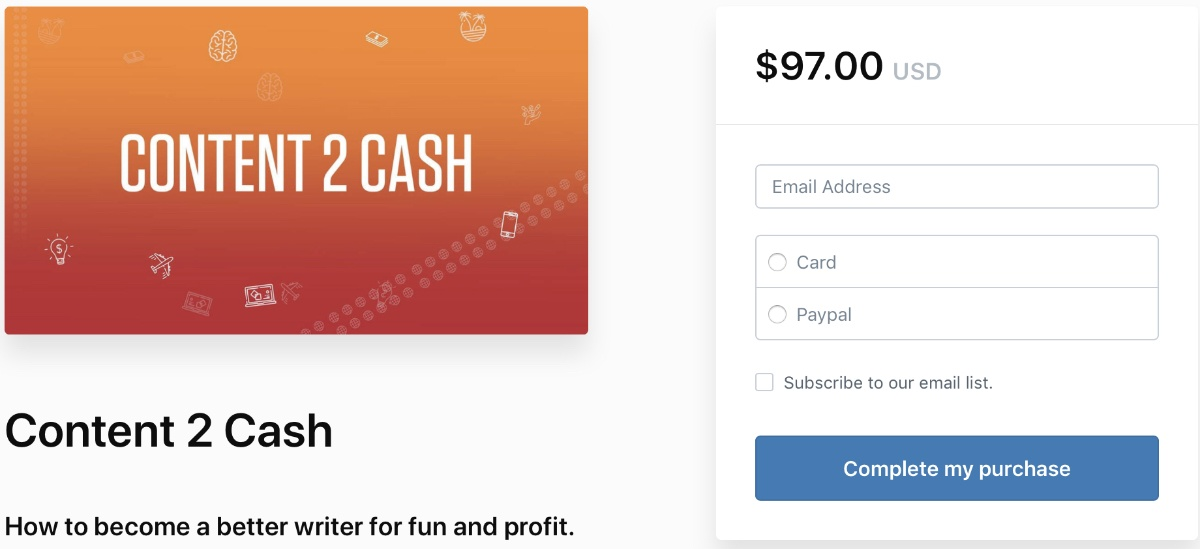 sign up for content 2 cash