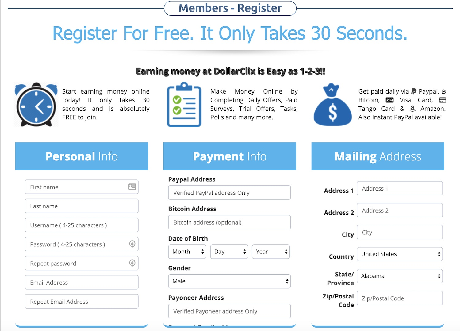 how to sign up to DollarClix