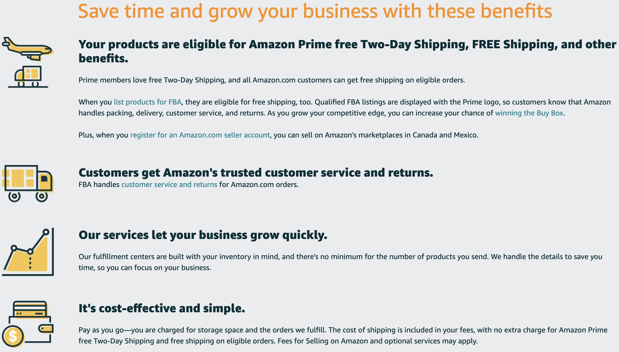 Amazon FBA benefits