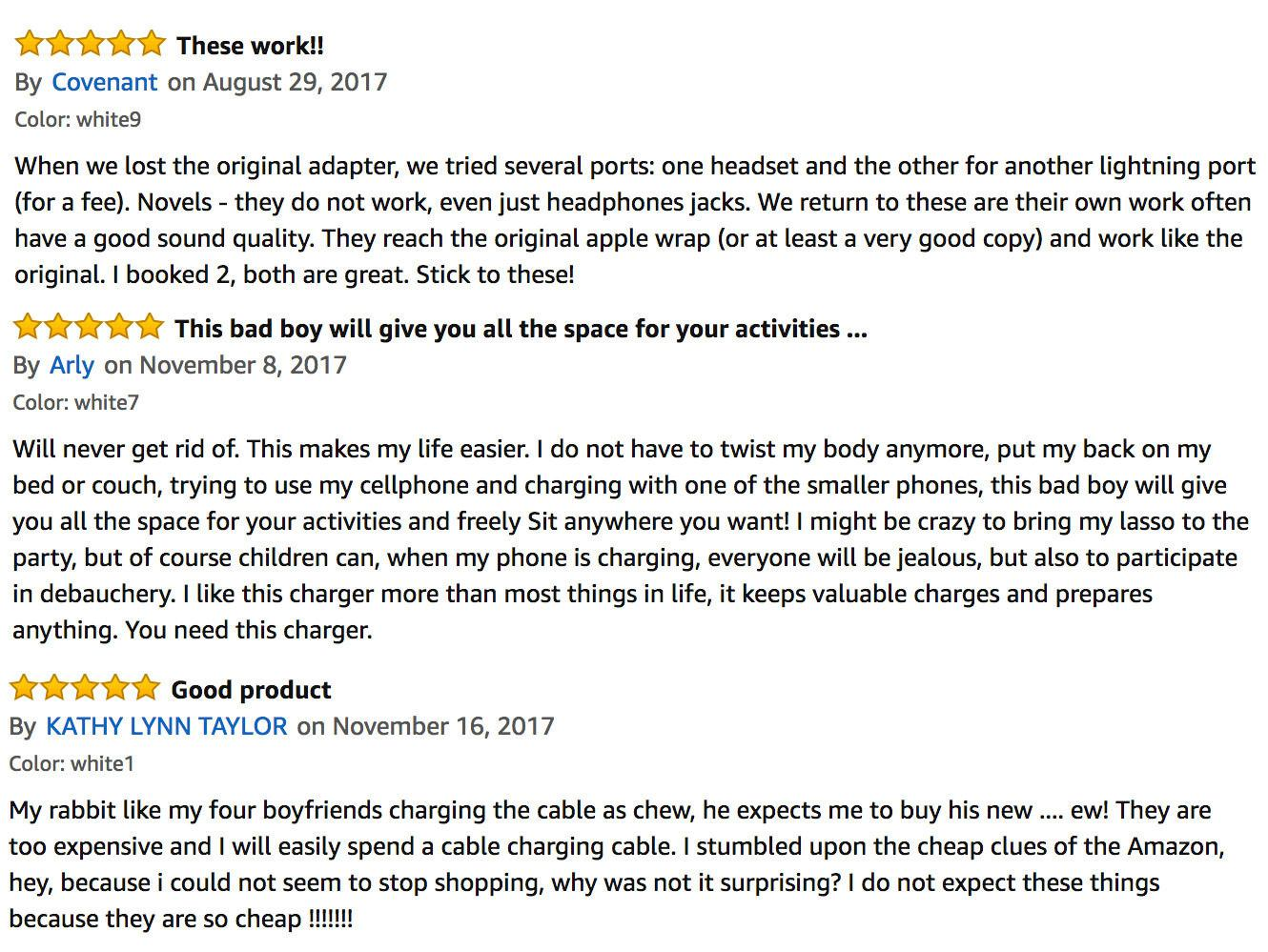amazon reviews example