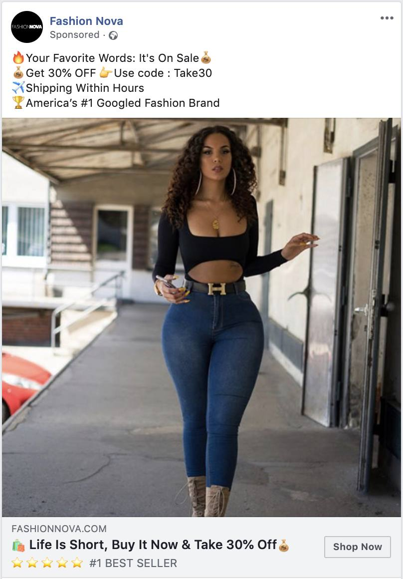 how fashionnova uses facebook ads