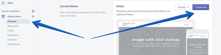 editing your theme in shopify
