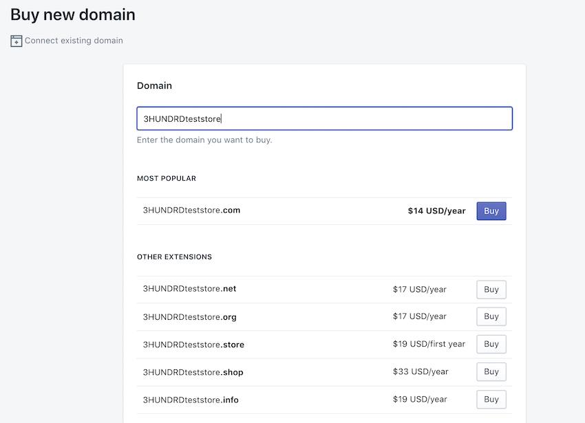 how to buy a domain from shopify