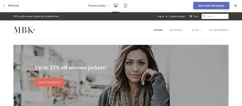 minimal theme demo free shopify themes