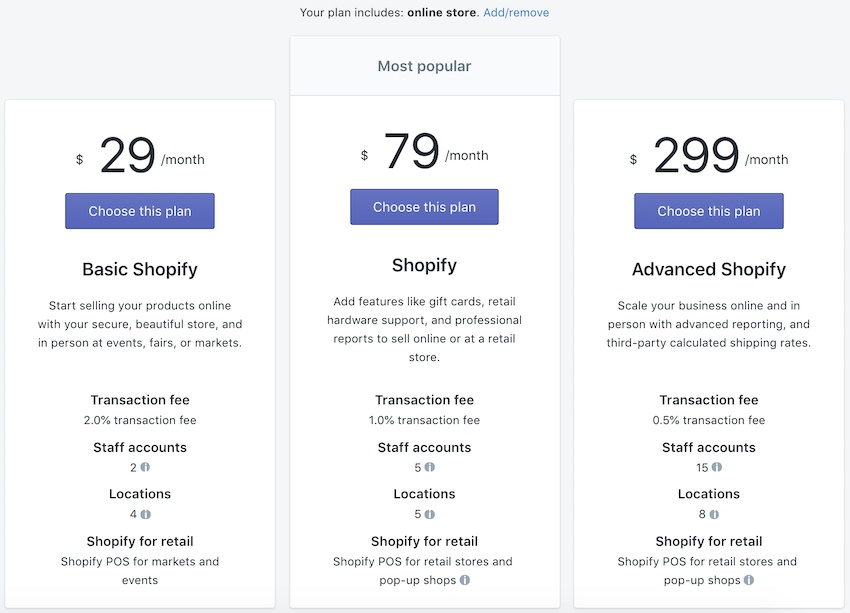 pick a shopify pricing plan