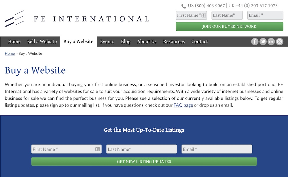 buy a website from fe international