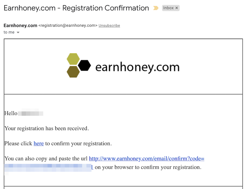 earnhoney email confirmation