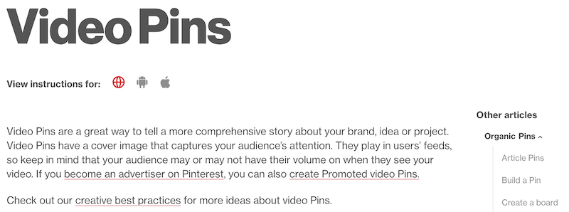video pins guide from pinterest