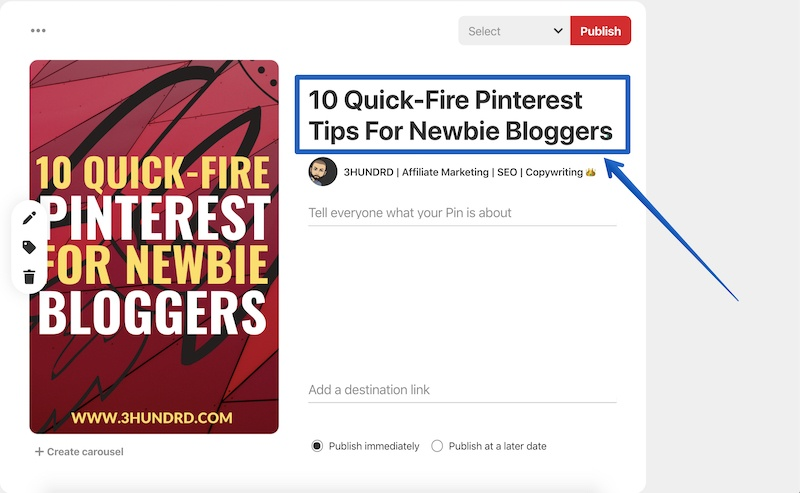 how to add a title to your pinterest pins