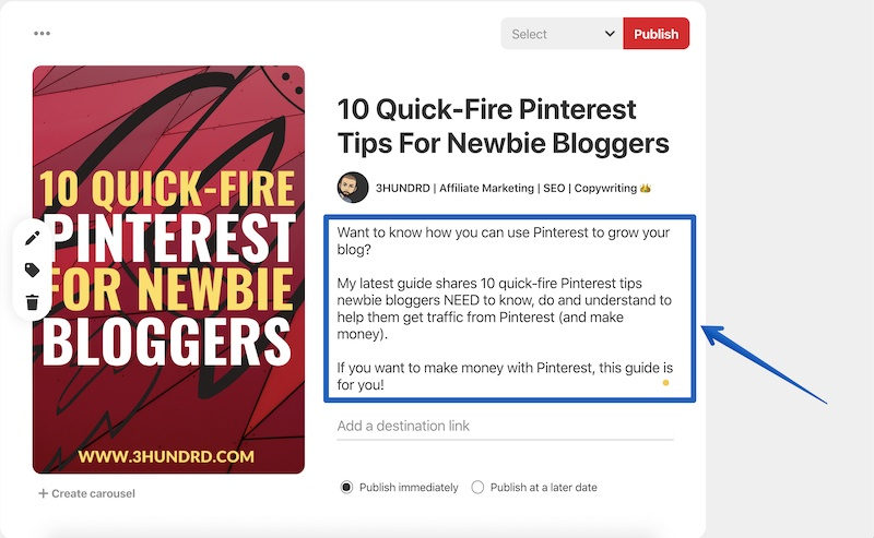 how to write pinterest descriptions that work
