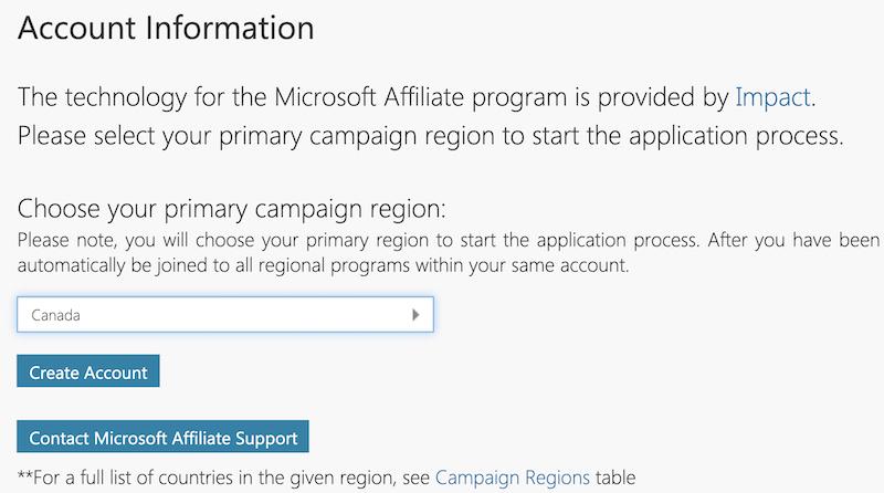 registering as a microsoft affiliate