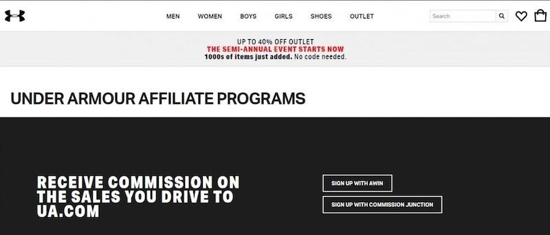Commission Junction under armour affiliate program
