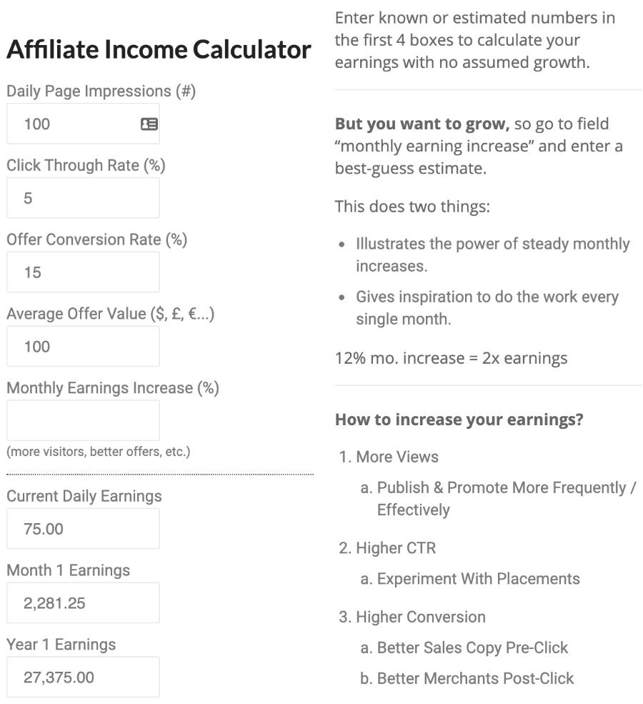 affiliate income calculator