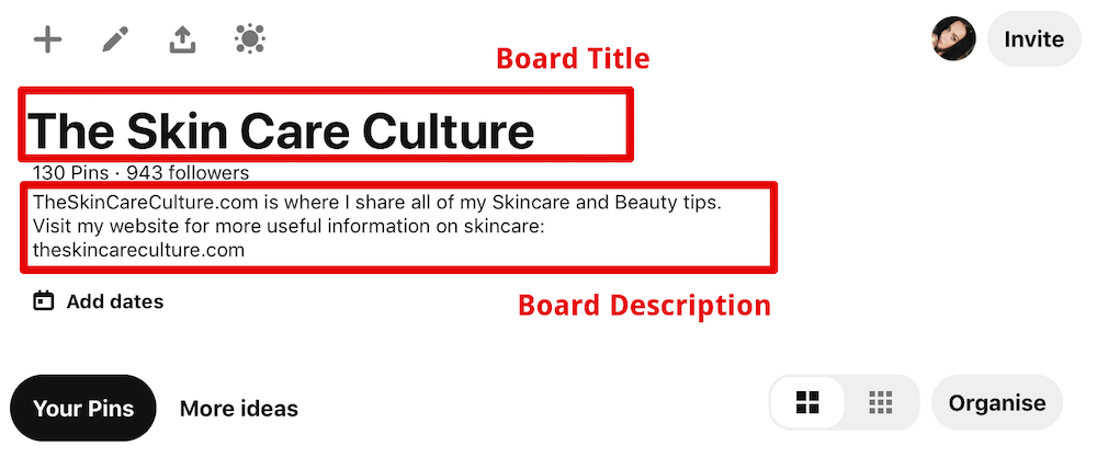 how to optimize a board description on Pinterest